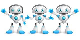 Jeu de caractères amical de vecteur de robots Conception drôle de robot de mascotte illustration libre de droits
