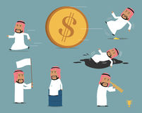 Jeu de caractères arabe échoué et faillite d'homme d'affaires illustration de vecteur