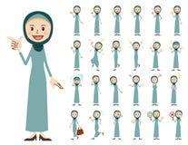 Jeu de caractères Arabe de femmes Diverses poses et émotions illustration stock