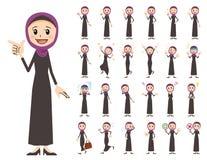 Jeu de caractères Arabe de femmes Diverses poses et émotions images stock