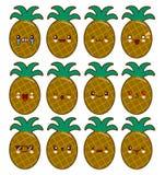 Jeu de caractères de bande dessinée d'ananas avec des émotions sur l'illustration plate de visage de kawaii Photos stock