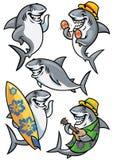 Jeu de caractères de bande dessinée de requin Photo stock