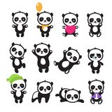 Jeu de caractères chinois de vecteur d'ours panda de bande dessinée mignonne Images libres de droits