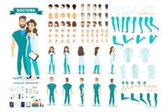 Jeu de caractères de couples de docteur pour l'animation illustration libre de droits