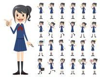 Jeu de caractères d'écolière Diverses poses et émotions illustration libre de droits