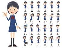 Jeu de caractères d'écolière Diverses poses et émotions illustration stock