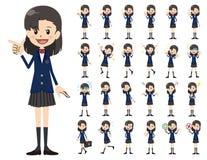 Jeu de caractères d'écolière Diverses poses et émotions illustration de vecteur