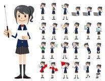 Jeu de caractères d'écolière Présentation dans la diverse action illustration stock