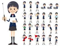 Jeu de caractères d'écolière Présentation dans la diverse action illustration de vecteur