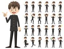 Jeu de caractères d'écolier Diverses poses et émotions illustration libre de droits