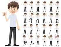 Jeu de caractères d'écolier Diverses poses et émotions illustration de vecteur