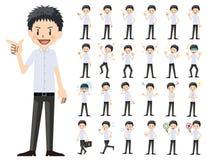 Jeu de caractères d'écolier Diverses poses et émotions illustration stock