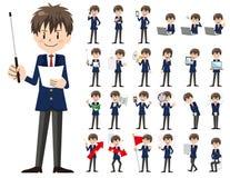 Jeu de caractères d'écolier Présentation dans la diverse action illustration stock