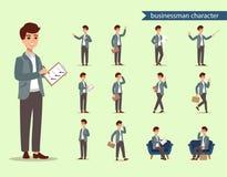 Jeu de caractères d'homme d'affaires Caractère animé Constructeur masculin de personnalité Différentes postures d'homme Personnal illustration de vecteur