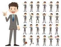Jeu de caractères d'homme d'affaires Diverses poses et émotions illustration stock