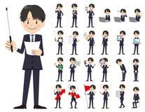 Jeu de caractères d'homme d'affaires Présentation dans la diverse action illustration stock