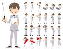 Jeu de caractères d'homme d'affaires Présentation dans la diverse action illustration libre de droits