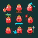 Jeu de caractères de bande dessinée de tomate Images stock