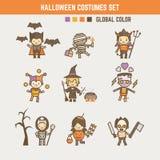 Jeu de caractères de costume d'enfant de Halloween illustration de vecteur