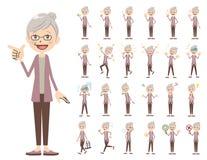 Jeu de caractères femelle Diverses poses et émotions illustration stock