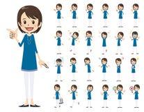 Jeu de caractères femelle Diverses poses et émotions illustration de vecteur