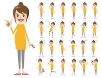 Jeu de caractères femelle Diverses poses et émotions illustration libre de droits