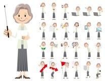 Jeu de caractères femelle Présentation dans la diverse action illustration stock