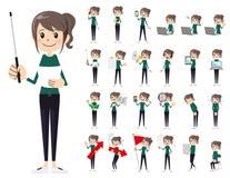 Jeu de caractères femelle Présentation dans la diverse action illustration libre de droits