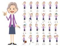 Jeu de caractères de femmes d'affaires Diverses poses et émotions illustration libre de droits