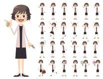 Jeu de caractères de femmes d'affaires Diverses poses et émotions illustration stock