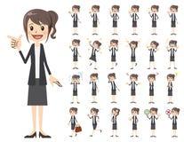 Jeu de caractères de femmes d'affaires Diverses poses et émotions illustration de vecteur