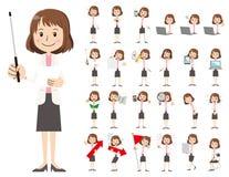 Jeu de caractères de femmes d'affaires Présentation dans la diverse action illustration stock