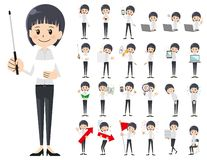 Jeu de caractères de femmes d'affaires Présentation dans la diverse action illustration de vecteur