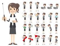 Jeu de caractères de femmes d'affaires Présentation dans la diverse action illustration libre de droits