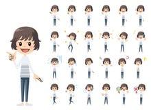 Jeu de caractères de fille Diverses poses et émotions illustration de vecteur