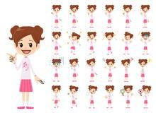 Jeu de caractères de fille Diverses poses et émotions illustration stock