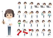 Jeu de caractères de fille Présentation dans la diverse action illustration stock