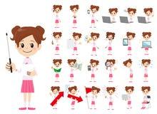 Jeu de caractères de fille Présentation dans la diverse action illustration de vecteur