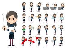 Jeu de caractères de fille Présentation dans la diverse action illustration libre de droits