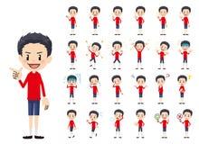 Jeu de caractères de garçon Diverses poses et émotions illustration de vecteur