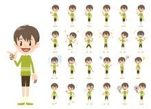 Jeu de caractères de garçon Diverses poses et émotions illustration stock