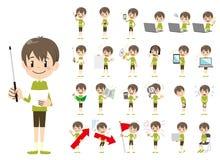 Jeu de caractères de garçon Présentation dans la diverse action illustration stock