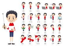 Jeu de caractères de garçon Présentation dans la diverse action illustration libre de droits