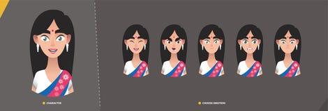 Jeu de caractères indien de fille de femme des émotions illustration de vecteur