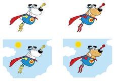 Jeu de caractères de mascotte de bande dessinée de chien de superhéros ramassage illustration stock