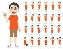 Jeu de caractères masculin Diverses poses et émotions illustration stock