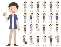 Jeu de caractères masculin Diverses poses et émotions illustration libre de droits