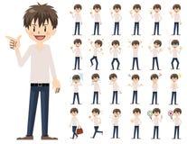 Jeu de caractères masculin Diverses poses et émotions illustration de vecteur