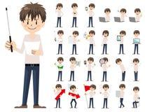 Jeu de caractères masculin Présentation dans la diverse action illustration stock