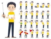 Jeu de caractères masculin Présentation dans la diverse action illustration de vecteur